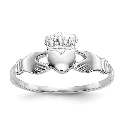 14k White Gold Ladies Irish Claddagh Celtic Knot Band Ring Size 6.00 Fine Jewelry For Women Gifts For Her