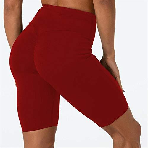 ZMK-720 Sport-Shorts Damen Frauen Radhose Tanzen Gym Biker Hot Short Femme elastische hohe Taille Leggins aktive beiläufige Sporthose Frauen (Color : Red, Size : XL)