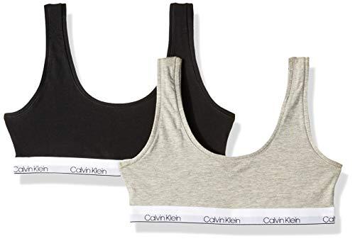 Calvin Klein Big Girls' Modern Cotton Bralette, 2 Pack-Heather Grey, Black,XL
