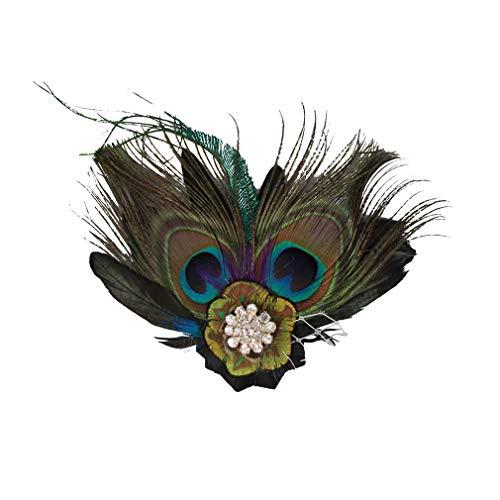 TYWZJ Pinza para el Pelo con Plumas de Pavo Real de los aos 20, Tocado de Fiesta Nupcial, Accesorios de Disfraz Vintage (4 Piezas)