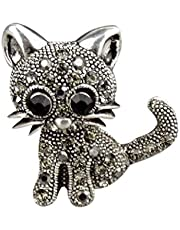 Bobury Broches de Gato Retro para Ramo de Boda Hijab Bufanda Pin Up Hebilla Broches