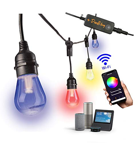 Outdoor String Lights - Patio Lights Outdoor Waterproof Smart Commercial Grade 49ft Color Changeable & White LED Smart String Lights Outdoor 2.4GHz WiFi 4.5 Watt Alexa Google 15 Edison Bulbs RGB