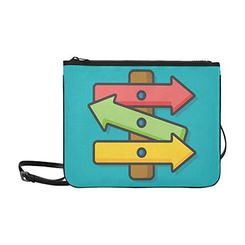 Roadsign Board Icon Benutzerdefinierte hochwertige Nylon-Slim-Clutch-Tasche Umhängetasche mit Umhängetasche