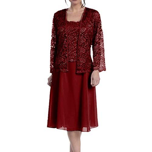 FRAUIT Damen Elegant Chiffon Spitzekleid+Spitzenmantel Patchwork Lose Kleid Zweiteiliges Abiballkleid Abendkleid Elegant Tüll Applique Ballkleid