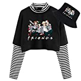 VASTAIR Long Sleeve Crop top and hat, My Hero Academia Long Sleeve Short Top with hat for Women(S Black-1)
