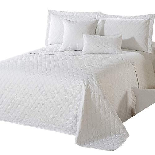 Delindo Lifestyle Tagesdecke Bettüberwurf Premium WEIß, für Einzelbett, einfarbig für Schlafzimmer, 140x210 cm