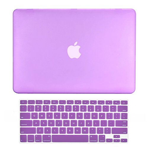 TOP CASE - 2 in 1 Signature Bundle Rubberized Hard Case + Keyboard Cover Compatible MacBook White Unibody 13' (A1342 / Oct 2009-2011) - Purple