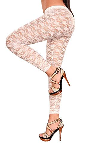 Inception Pro Infinite Colore Bianco - Leggings - Legging - Pantaloni - Pantacollant - Fuseaux - Donna - Pizzo - Trasparente - Fiori - Sexy - Moda - Idea regalo - Steampunk - Retro - Dark - Gotico