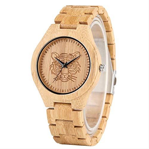 FNYM Holz Uhr Simple Fashion Herren Holz Armreif Quarzuhr Gravierte Tiger Head Bamboo Timepiece