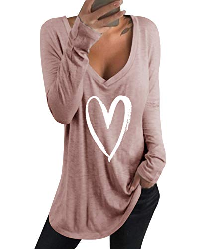 kenoce Tshirt Damen Casual Tunika Tops V-Ausschnitt Solides T-Shirt B-Pink XL