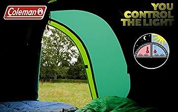COLEMAN Chimney Rock 3 Plus Tunnel Tente de Camping 3 Personnes Grande Cabine de Couchage obscurcie Bloque jusqu'à 99% de la lumière du Jour, étanche WS 4500 mm Adulte Mixte, Vert, 58 x 21 x 18 cm
