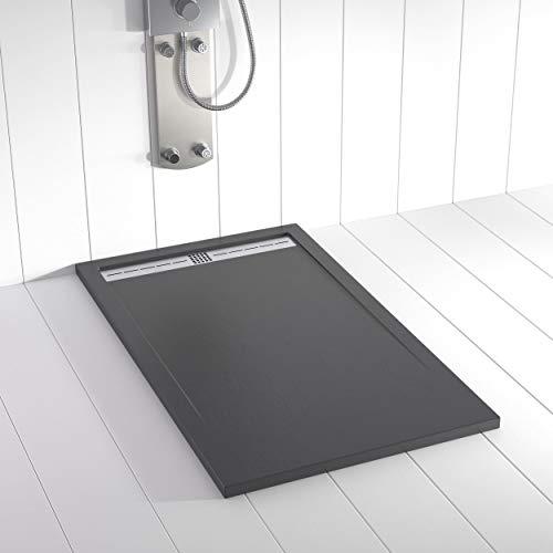 Shower Online Plato de ducha Resina FLOW - 80x100 - Textura Pizarra - Antideslizante - Todas las medidas disponibles - Incluye Rejilla Inox y Sifón - Antracita RAL 7011