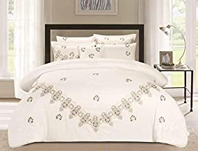 HOURS-7 Piece Lace Embroidery Comforter Set,Ella-001