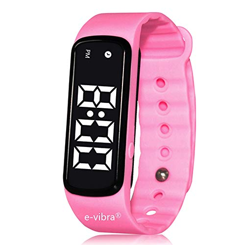e-vibra 10 Alarm Vibrating Reminder Watch - Silent Medical Reminder Watches for Kids Toilet Potty Training Aid, ADHD Reminder Watch -with Timer and 10 Daily Alarms (Pink)