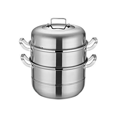 Juego de 3 ollas de acero inoxidable para cocinar al vapor, huevos de verduras, gamba, sopa, alimentos, cocina al vapor, 28 cm