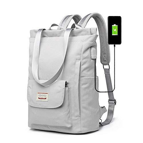 AOOA 5Pcs/set Canvas School Bag For Teenager Girls Student Women Travel School Laptop Backpacks Female Book Bag,Gray 13-14inch