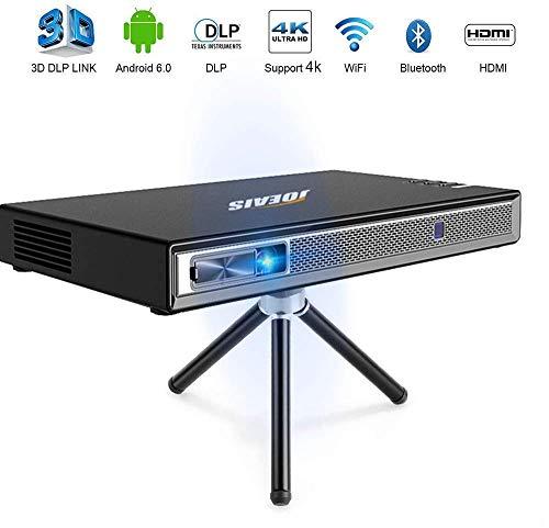 JOEAIS Mini Beamer, WiFi 200 ANSI Lm 3D DLP Beamer Unterstützung 4K 1080P Full HD Tragbar Projektor, 300 Zoll Bild, HDMI USB BT4.0 Kompatibel mit Android, iPhone, PC, TV Stick, Gamepads
