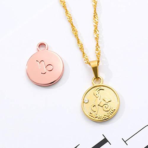 Minimalismo Colgante de Moneda Redonda Collares con Signo del Zodiaco Collar de Cadena Larga de Acero Inoxidable Collier Femme