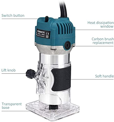 Wood Router,Router Tool Wood Trimmer Router Electric Hand Trimmer Laminate Milling Engraving Hand Machine Joiner Tool Electric for Slotting Trimming Carving 110V 800W 30000R/MIN(Gloves Pen)
