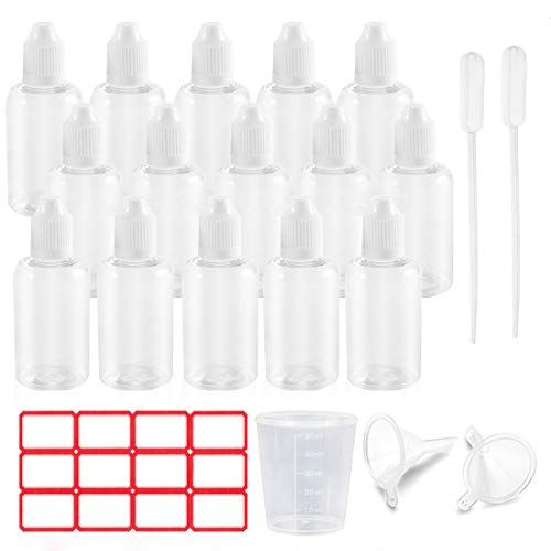 Tropfflasche Set, 15x50 ml Leere Plastikflaschen Flaschen mit Trichter, Messbecher und Etiketten, Quetschflasche zum Befüllen und Mischen, mit Kindersicherung Deckel