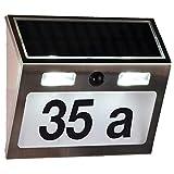 SIDCO Solar LED Hausnummer mit Bewegungsmelder Bewegungssensor Hausnummernbeleuchtung