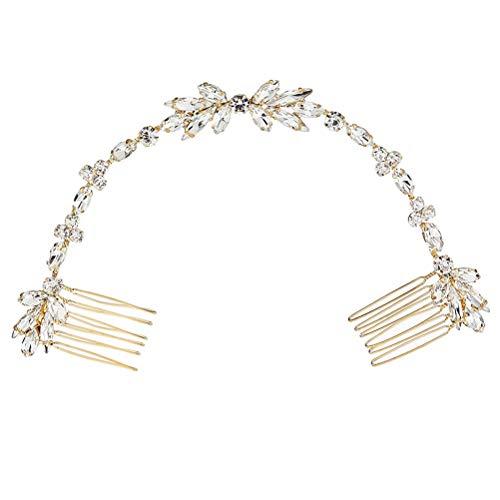 Lurrose Cristal Tassel Peigne De Cheveux De Mariée Peigne De Mariée Chaîne De Mariée Coiffures Vintage Pour Fête De Mariage (Or)
