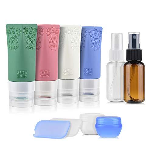 Alcoon Silikon Reiseflaschen Set mit Kulturbeutel Auslaufsicher Reisebehälter Handgepäck Wiederverwendbar für Hautpflege, Lotion, Shampoo, Spülung, Duschgel, Körperpflege