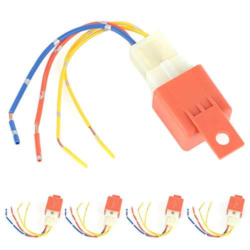 Paquete de 5 relés y arnés impermeables de 40 A, 1,8 W, 12 V CC, cables de cobre estañado de alta resistencia, relé de retardo de aire acondicionado universal automático, 4 pines normalmente abierto c
