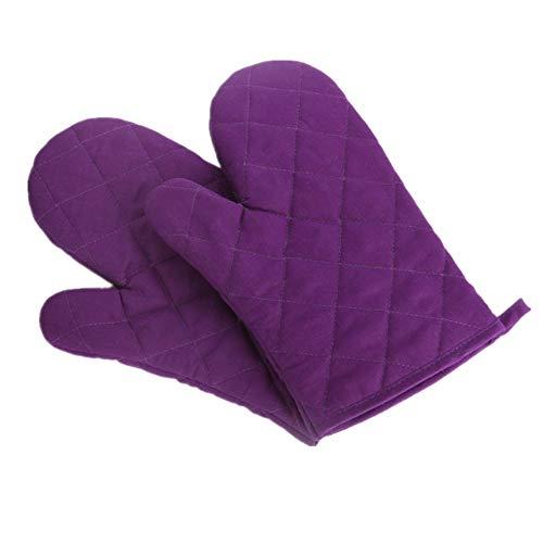 Voarge Ofenhandschuhe, Hitzebeständig Ofenhandschuhe Verdickte Hitzeresistente Topfhandschuhe Topflappen Backhandschuhe, 1 Paar Lila