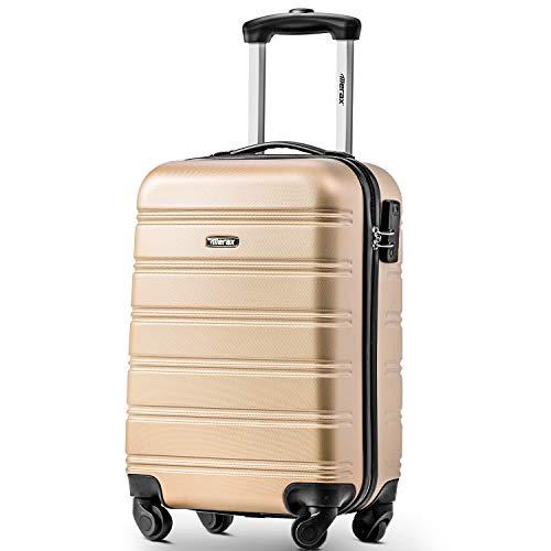 PovKeever Travel Suitcase, 20' ABS Hard shell Luggage Cabin 36L Travel Trolley Suitcase 4 wheel Luggage Set Locks Hand Luggage Lightweight Luggage,Clothes Storage Organizer SuitCase (Golden)