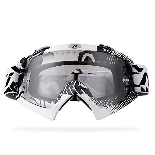NENKI Motocross MX ATV Goggles NK-1019 For Off Road Dirt Bike Unisex Adult (White & Black,Anti Fog Clear Lens)