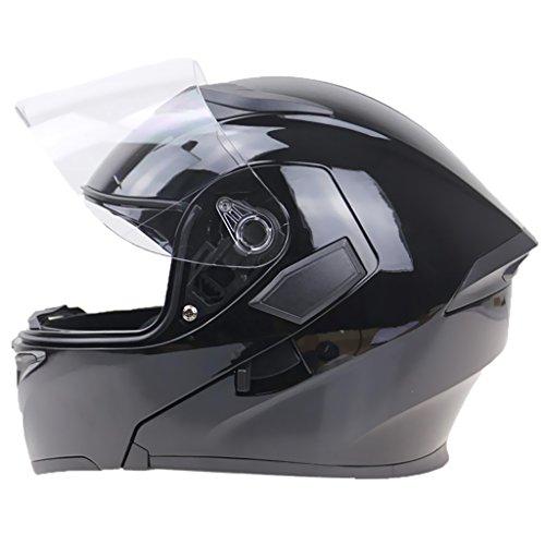 prasku Casco de Calle de Motocicleta de Doble Visera Modular Abatible Integral Rojo - Negro XL