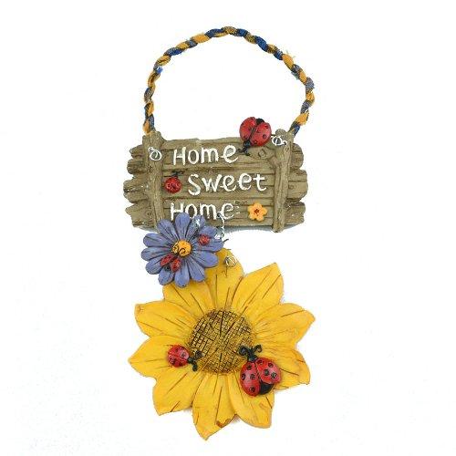 """Gardeningwill - Cartello di benvenuto dipinto a mano, in resina, con motivo """"Fiori bianchi e coccinelle"""", da appendere alla porta, decorazione per ambienti interni o giardini"""