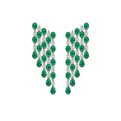 Pendientes de araña de diamantes esmeralda, diseño de lágrima, color verde, ideal para bodas, novias, pendientes largos, 14K Oro blanco, Par