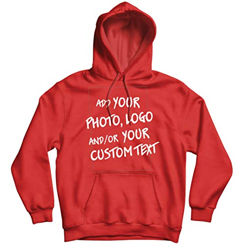 lepni.me Sudadera con Capucha Regalo Personalizado, Agregar Logotipo de la Compañía, Diseño Propio o Foto (Medium Rojo Multicolor)