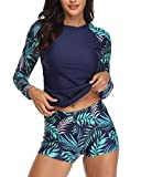 Daci Women Blue Leaves Rash Guard Long Sleeve Swimsuits UV UPF 50+ Swim Shirt Bathing Suit with Boyshort Bottom XS