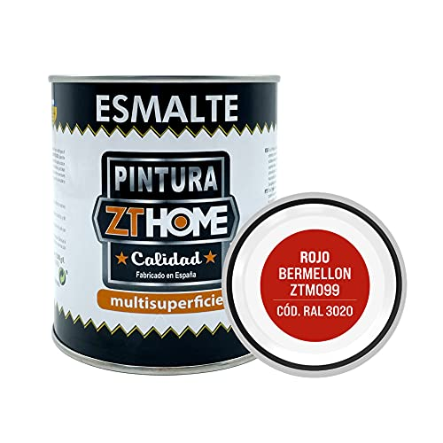 Pintura color Rojo Bermellon Interior / Exterior / Multisuperfie para azulejos baño cocina , madera, puertas, metal, radiadores, muebles, ceramica / Esmalte sintentico en 375 ml / RAL 3020