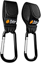 Stroller Hooks by Baby Uma - Strap, Clip or Hang a Diaper Bag to Your Pram or Buggy - Black, 2 Pack