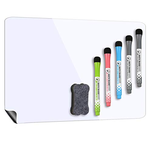 Magnetic Whiteboard for Fridge 17''x12'', Stain Resistant Technology, Magnetic Dry Erase Board, 5 Magnetic Markers and 1 Eraser Included