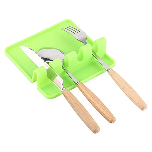 Soporte de cocina de silicona duradera, Rejilla de silicona para cocina, Resto de utensilios, Cocina de restaurantes para el hogar(green)