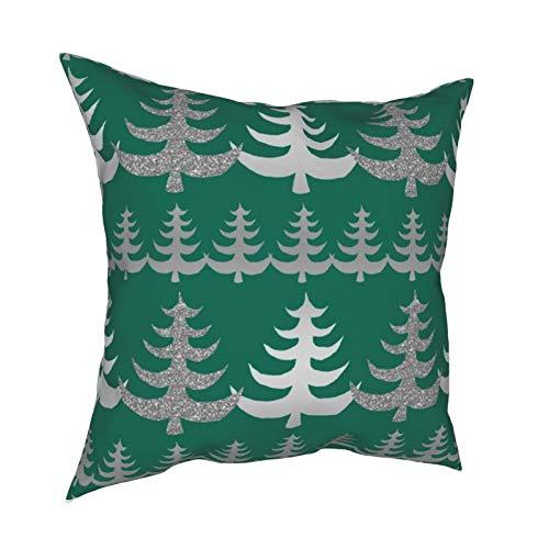 Fundas de almohada, diseño moderno de árbol de Navidad plateado sobre verde para el hogar, fundas de cojín cuadradas para sofá, sala de estar, cama de 45,7 x 45,7 cm
