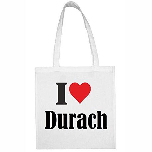 Tasche I Love Durach Größe 38x42 Farbe Weiss Druck Schwarz