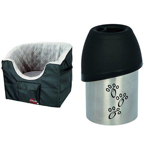 Trixie Autositz für kleine Hunde  + Trixie 24605 Flasche mit Trinknapf, Edelstahl/Kunststoff, 300 ml