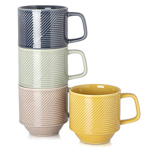 Adewnest Stackable Coffee Mugs Set: 15 Ounce Large Stacking Ceramic Mugs Set for Coffee Mocha Latte Tea Milk - Set of 4 Big Porcelain Coffee Cups 4 Color Assorted (Warm Color)