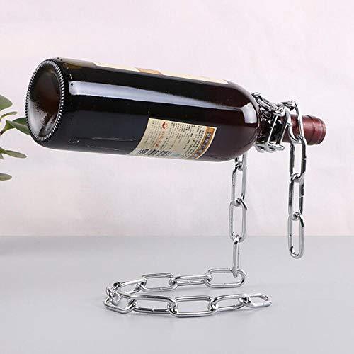 LIJUCAI Magic Suspension Iron Chain Wine Rack Soporte Creativo Cuerda UVA Botella de Vino Soporte Decoración para Bodas Fiestas Banquete Bar, Plata