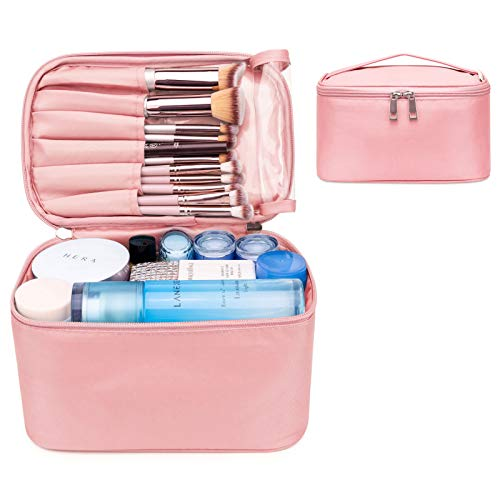 Travel Makeup Bag Large Cosmetic Bag Make up Case Organizer for Women and Girls (Small, Pink)