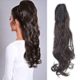 FUT Womens Claw Ponytail Clip in Hair Extensions 18' Long Curly Hairpiece, Medium Brown Wavy, 18 Inch Wavy