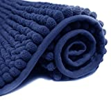 JTdiffer Bathroom Rug 16x24 inch Non Slip, Super Absorbent Bathroom Mat, Extra Soft Bath Mat and Quick Dry Chenille Bath Rugs Carpet for Tub, Shower, Bath Room, Bedroom, Kitchen, Sink (Blue)