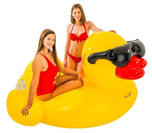 XXL Schwimmtier Ente 206 x 193 x 112 cm - Schwimmreittier für Pool Urlaub Strand Meer