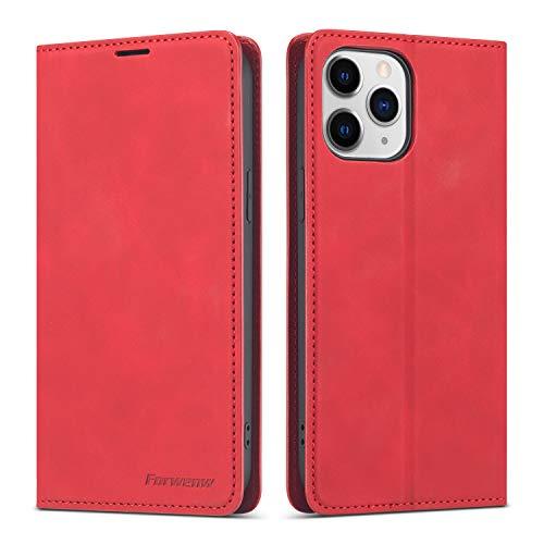 QLTYPRI - Funda para iPhone 12 Max iPhone 12 Pro (6,1 pulgadas), funda de piel con tarjetero y cierre magnético, compatible con iPhone 12 Max iPhone 12 Pro (6,1 pulgadas), color rojo